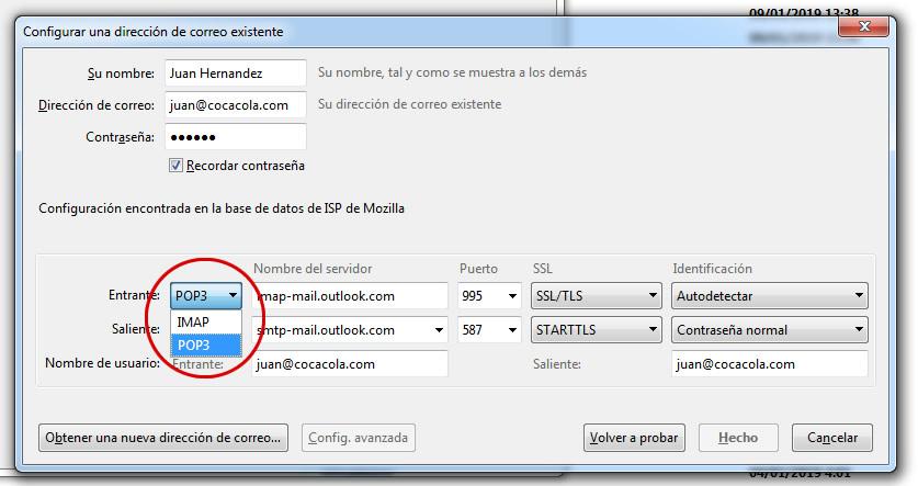 configuracion cuenta de correo electronico