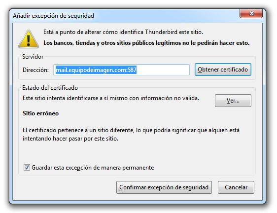 error configurar email en ordenador